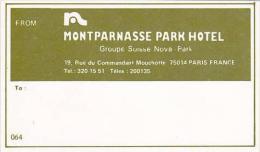 FRANCE PARIS MONTPARNASSA PARK HOTEL VINTAGE LUGGAGE LABEL - Hotel Labels
