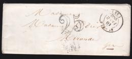 France - Lettre Taxée 25 Obl 1852 - Cachets: ? / Mirande - 1849-1876: Période Classique