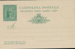 """San Marino Ganzsache """"Cartolina Postale - Risposta""""  15 Centimi. 1894. - Lettres & Documents"""