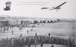 AVIATEUR  - LYON AVIATION  - CPA -  LATHAM Au-dessus Des Hangars Et Départ De Chavez - Aviatori