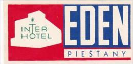SLOVAKIA PIESTANY EDEN HOTEL VINTAGE LUGGAGE LABEL