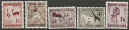 SWA  1960  Sc#261-5  Rock Art Set  MH*   2013 Scott Value $37.15 - África Del Sudoeste (1923-1990)