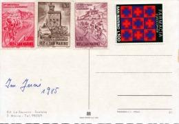 SAN MARINO - 4 Sondermarken Auf Ansichtskarte - San Marino