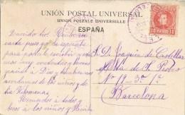 8088. Postal CALELLA (barcelona) 1908. Fechador Violeta - Cartas