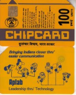 INDIA(chip) - People On Phone, Aplab Telecard 100 Units, Used - India