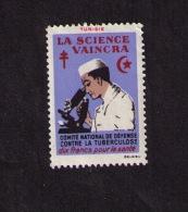 Timbre Comité National De Défense Contre La Tuberculose, Tunisie,  « La Science Vaincra », 10 F, 1953 - Disease