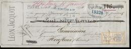 MANDAT De LÉON JACQUOT  En 1874 Au HAVRE 76, Pour Mr LAMORINIERE Grainetier à HONFLEUR - France