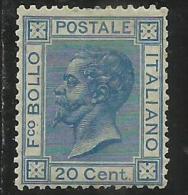 ITALIA REGNO ITALY KINGDOM 1867 EFFIGIE RE VITTORIO EMANUELE II CENTESIMI 20 TORINO MLH  BEN CENTRATO SIGLED FIRMATO - Nuovi