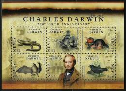 nev0907sh Nevis 2009 Charles Darwin 20oth Birthady Platypus Bat Bird s/s