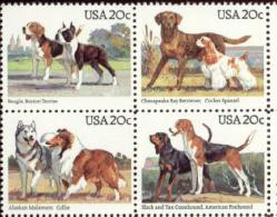 US 1984 Dogs 20c Block Of 4 MNH** - Etats-Unis