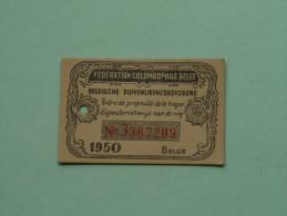 Fédération Colombophile Belge - Titres De Propriété De 1950 Eigendomsbewijs Ring Bague Duivenliefhebbersbond ! - Sports