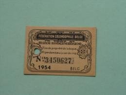 Fédération Colombophile Belge - Titres De Propriété De 1954 Eigendomsbewijs Ring Bague Duivenliefhebbersbond ! - Sports