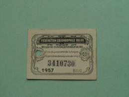 Fédération Colombophile Belge - Titres De Propriété De 1957 Eigendomsbewijs Ring Bague Duivenliefhebbersbond ! - Sports