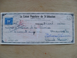 2 Scans, Bank Check Cheque From Canada 1951 St.Sebastien - Monnaies & Billets