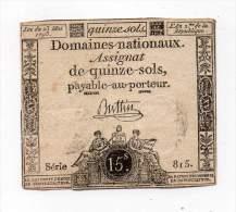 Assignat De Quinze Sols - Série 815 ° - Buttin - Assignats & Mandats Territoriaux