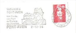 CACHET OBLITERATION FLAMME EMA PONT AVEN MUSEE MOULINS COIFFE  ENVELOPPE 22X11 - 1961-....