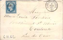 Novembre 1862 - N°14 PC 1656 + Cad Type 15 Larroque D'Olmes, Pour Toulouse - Marcofilia (sobres)
