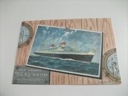 NAVE SHIP ENVIAR  TRANSATLANTICO Rex Illustratore Assereto - Paquebots
