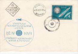 SPACE, COSMOS, IURI GAGARIN COSMONAUT, SPACE SHUTTLE, SPECIAL COVER, 1961, BULGARIA - Europa