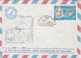 FIRST POLAR PESSENGERS FLIGHT, COPENHAGEN- ANCHORAGE, TOKIO, PLANE, SPECIAL COVER, 1982, ROMANIA - Vols Polaires