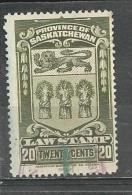 """Canada / Saskatchewan  """"1908""""  Cat. Van Dam No. SL35  (O)  Timbre De Loi - Canadá"""