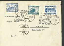 "21.VI.1936. COVER,  BALLOON RACE COMPETITION "" KRAKOW DAY "" KRAKOW--MYDLNIKI. - Poste Aérienne"
