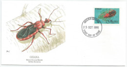 Ghana 1991 1254 FDC - Insectes - Carabe - Dessin Basil Smith - Ghana (1957-...)