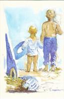 23659 Aquarelles Aquarelle A M Monpezat Pour Bouchara - Enfant Plage - Bébés