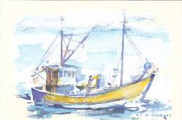 23664 Aquarelles Aquarelle A M Monpezat Pour Bouchara - Bateau Peche Chalutier Dessin - Pêche