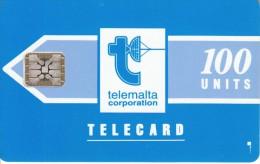 MALTA - Telecom Logo/blue(matt Surface), First Issue 100 Units, Chip SC5, CN : 42326, Tirage %77900, 07/91, Used - Malta
