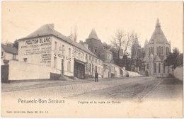 PERUWELZ-BON-SECOURS. L'Eglise Et La Route De Condé - Péruwelz