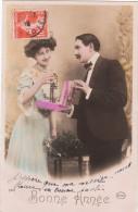 Carte Postale Ancienne Fantaisie - Couple - Amoureux - Coffre à Bijoux - Bonne Année - Parejas