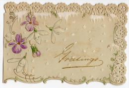 Chromo Gaufrée Festonnée Style Canivet Royal Moka Greetings Carte Voeux Violette Fleur Légèrement Dorée Givre étoile - Non Classés