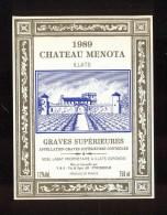 Etiquette De Vin  -  Chateau Ménota  -  Graves Supérieures  -  1989 - Bordeaux