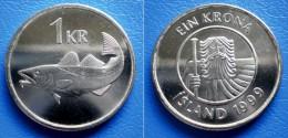 ICELAND ISLAND  1 Krona 1999 UNC - FISH COD - Islandia