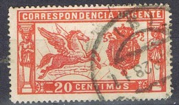Sello Urgente PEGASO, Color Rojo, Num 324 º - 1889-1931 Reino: Alfonso XIII
