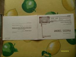 Sala Del Conservatorio Napoli Stagione 1949-50 ANDRES SEGOVIA Chitarrista - Programs