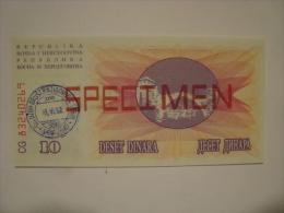 BOSNIE- Billet De 10 D SPECIMEN De Type1992 - Neuf/UNC - P.10s - - Bosnia Y Herzegovina