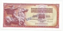 Yugoslavia 100 Dinara 1986. UNC SPECIMEN REPLACEMENT Zero Numbered ZA Serial - Yugoslavia