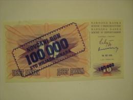 BOSNIE- Bon Novcani De 100 000 D Surimprimé Sur Billet De 10D De Type1992 - Neuf/UNC - P.34 - - Bosnie-Herzegovine
