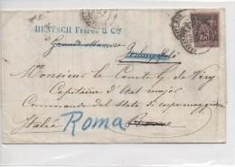 Lettera Affrancata E Viaggiata Francia - Italia (Roma) 1888 - Altri