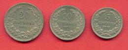 F3929 / - 5 + 10 + 20  Stotinki - 1913 - Bulgaria Bulgarie Bulgarien Bulgarije - Coins Monnaies Munzen - Bulgaria