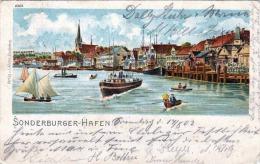 Sonderburger Hafen, Litho-Künstlerkarte Gel.1902 - Dänemark