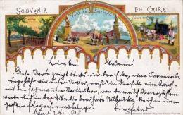 Souvenir Du CAIRO, Litho Und Golddruck Karte Gel.1898 Mit Marke - Kairo