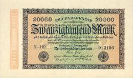 Deutschland, Germany - 20000 Mark, Reichsbanknote, Ro. 84 B, ( Serie HR ) XF+, 1923 ! - [ 3] 1918-1933 : República De Weimar