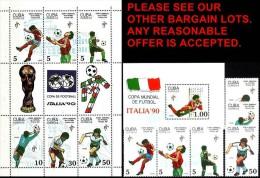 CUBA 1990 ITALIA SOCCER/FOOTBALL WORLD CUP + S/S + M/S MNH - Copa Mundial