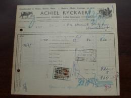 ACHIEL RYCKAERT Ronsele Bij Somergem Facture ( N° 1707 ) 1956 (?) + Tax Zegels à Waarschoot ( Zie Foto Voor Details )! - 1950 - ...