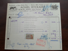 ACHIEL RYCKAERT Ronsele Bij Somergem Facture ( N° 4367 ) 1953 (?) + Tax Zegels à Waarschoot ( Zie Foto Voor Details )! - 1950 - ...