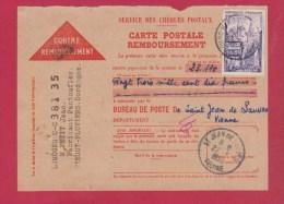 CONTRE REMBOURSSEMENT  //  DE ST JEAN DE SAUNES  //  22/7/1955 - Documents Of Postal Services
