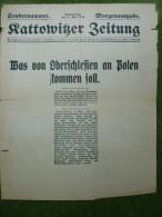 A2691) Oberschlesien Kattowitzer Zeitung Sondernummer 8.5.1919